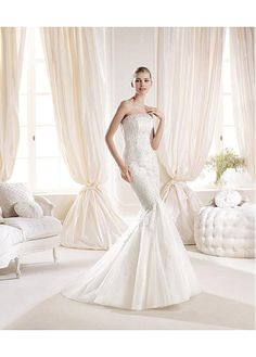 STUNNING TULLE SATIN STRAPLESS NECKLINE NATURAL WAISTLINE MERMAID WEDDING DRESS SEXY LADY LACE FORMAL PROM BRIDESSMAID