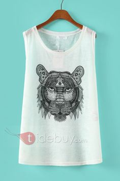 Cool Animal Print Sleeveless Cotton White T-shirt : Tidebuy.com