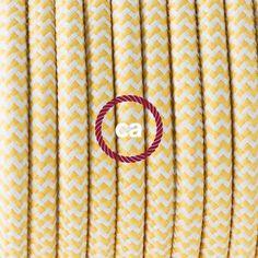 Elektrisches Kabel rund überzogen mit Textil-Seideneffekt Zick-Zack Gelb RZ10