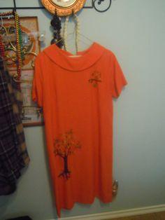 Vintage Orange Dress Mad Men Mod Embroidered Owls Coins Large Size