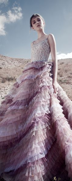 "Rami Kadi ""Zephyr"", F/W - Couture - Pastel Shades Dégradé Of Ruffled Tulle Gown Featuring A Bodice Fully Incrusted With Swarovski Crystals And Glass Beads Color Lavanda, Tulle Gown, Dress Rings, Couture Collection, Beautiful Gowns, Evening Gowns, Ruffles, Ball Gowns, Ideias Fashion"