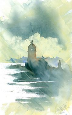 Maiden's Tower, istanbul  http://www.watercolouristanbul.com