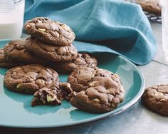 Chocolate Chocolate Chip Cookies : Bake a batch of treats that get a double dose of chocolate from cocoa and two whole cups of chocolate chips.  via Food Network