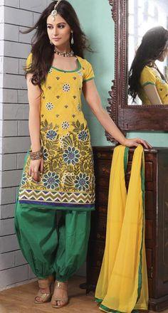 $54.4 Yellow Cotton Punjabi Salwar Kameez 23690