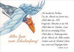 Zum Schulanfang die Einschulungs Gratulationskarte mit Wilhelm Busch Gedicht für ABC Schützen • auch zum direkt Versenden mit ihrem persönlichen Text als Einleger.: Amazon.de: Küche & Haushalt