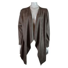 Absolu Suede Waterfall Jacket in Taupe