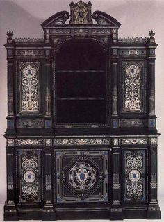 Victorian Ivory inlaid and ebony cabinet,   c. 1867