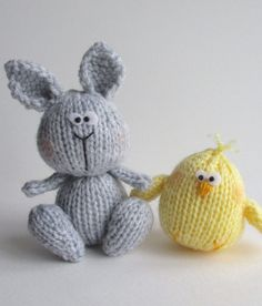 Knitting Pattern for Bunny and Chicky - Amanda Berry designed these adorable Easter toys.The finished bunny is approximately 14cm tall (including the ears), and the chick is 6.5cm tall. DK yarn.