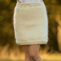 Hand knitted mini mohair skirt in ivory, one size