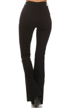 """The """"Jango"""" High Waisted Fitted Denim Pants with Flared Bottoms in Black. Super Comfortable Stretchy Material That Allows a Smooth Fit for Anyone. Made in USA. 44"""" Top to Bottom / 32"""" Inseam (Measured"""