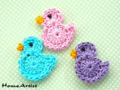 Best 11 Listing is for 3 crochet embellishments, mix of colours. Each motif is made in a quality cotton yarn, which is soft Picot Crochet, Crochet Birds, Crochet Motif, Crochet Designs, Crochet Flowers, Crochet Doilies, Crochet Applique Patterns Free, Easter Crochet Patterns, Baby Knitting Patterns