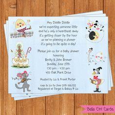 Baby shower invitations diy easy 29 ideas for 2019 Baby Shower Cupcakes, Baby Shower Favors, Baby Shower Parties, Baby Shower Themes, Baby Shower Gifts, Shower Ideas, Nursery Rhyme Party, Nursery Rhymes, Baby Shower Checklist