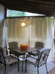 No Sew Canvas Drop Cloth Curtains. Easy for party privacy. Only $40 for both panels and rod.