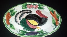 """Vintage Turkey Platter - Made in Italy - 20"""" x 15"""" - HUGE AND NICE!"""