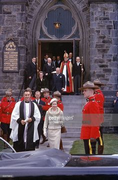 England's Queen Elizabeth (C) and Prince Philip (L, dark suit) leaving Christ Church Cathedral under eye of Rev. Lord Bishop of Ottawa J. Anderson (gold robes) during the Royals tour of Canada. Hm The Queen, Her Majesty The Queen, Save The Queen, Young Queen Elizabeth, Elisabeth Ii, Duchess Of York, Prince Phillip, Queen Of England, Princess Margaret