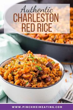 Charleston red rice is one of the most iconic side dishes from the Lowcountry of South Carolina! This authentic recipe is flavored with bacon and sausage and is baked in the oven for a more distinct grain. Charleston Red Rice Recipe, Red Rice Recipe Southern, Southern Recipes, Southern Food, Southern Comfort, Rice Recipes, Great Recipes, Cooking Recipes, Cooking 101