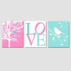 Hey, I found this really awesome Etsy listing at https://www.etsy.com/listing/122361298/modern-bird-love-trio-set-of-three-8x10