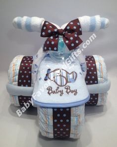 Tricycle Diaper Cake for Boy - 9990187 - Baby Boy - Diaper Cakes - by Babyfavorsandgifts by leanna Regalo Baby Shower, Baby Shower Diapers, Baby Shower Cakes, Baby Shower Parties, Baby Boy Shower, Baby Party, Tricycle Diaper Cakes, Diaper Cake Boy, Cake Baby
