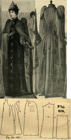 Tygodnik Mód 1889.: Winter cape with bouffant sleeves.