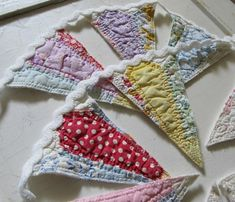 Bunting made from old quilt pieces