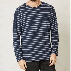 Braintree Hemp Long Sleeve Grey Marl Striped T-shirt from Brothers We Stand