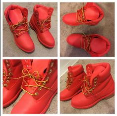 Custom RED Painted Timberland Boots- Women/ Men / Youth                                                                                                                                                      More