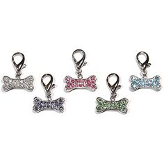 Crystal D-Ring Bone Charm Assorted Colours