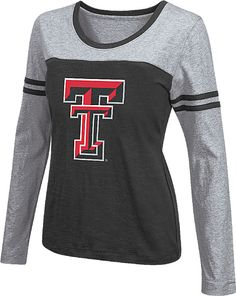 7291ccd49 Women's Texas Tech Red Raiders Black Leap Scoop Neck Long Sleeve Tee Shirt  $29.95 Cheer Outfits