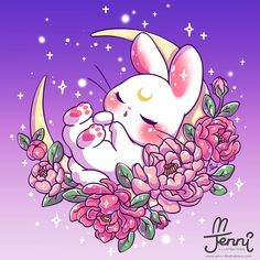 by Jenni Ly 🌸🐰⭐🌙🐰🌕⭐ Cute Animal Drawings Kawaii, Cute Kawaii Animals, Cute Drawings, Bunny Drawing, Bunny Art, Chibi Disney, Kawaii Bunny, Sailor Moon Wallpaper, Kawaii Doodles
