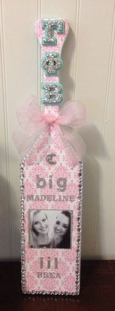 cute big little sorority paddle, love the black and white photo!