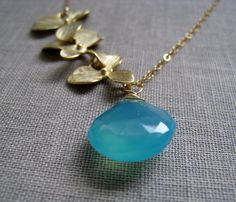 Orchid Necklace Bridesmaid gifts  Aqua blue by thejewelrybar, $40.00