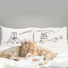 Your home is your favorite place to be because you know, no matter where you are in the world, this is the place where you and your beloved (and your cats) have a foundation of love, warmth, and happy memories. Cat-loving couples would treasure these whimsical cat pillowcases that can share a warm and comforting sentiment, Home is where the Meow is! Cat Lover Gifts, Cat Gifts, Cat Lovers, Couple Pillowcase, Couples Coffee Mugs, Cat Couple, Cat Themed Gifts, Cat Pillow, Wedding Gifts For Couples