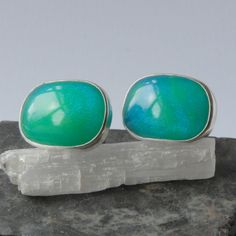 Bright blue bowlerite and sterling silver swivel cufflinks £145.00