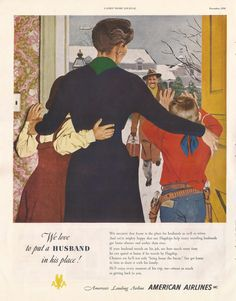 American Airlines ad from Ladies' Home Journal, December 1950