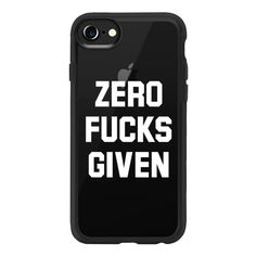 Zero Fucks Given (Transparent White Art) - iPhone 7 Case And Cover ($40) ❤ liked on Polyvore featuring accessories, tech accessories, phone cases, phones, iphone case, phones/phone cases, clear iphone case, transparent iphone case, iphone cases and apple iphone case