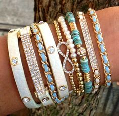 DOPE turquoise and gold arm candy