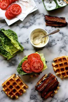 Cheddar Buttermilk Waffle BLTS / Joy the Baker buttermilk waffl, waffl blts, sandwich, food, joy the baker, brunch, waffle iron