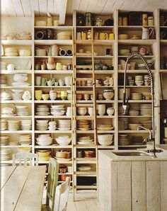 Holy clutter but so appealing to put everything out there and you wouldn't even need cupboards.  The ladder is a great touch to reach anything.