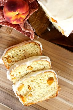 Peaches and Cream Bread is a deliciously baked quick bread. It is incredibly moist and the fresh peaches with the sweet cream icing make it summer perfect. Fudge Recipes, Bread Recipes, Dessert Recipes, Cooking Recipes, Baking Desserts, Soup Recipes, Fruit Bread, Dessert Bread, Peach Bread