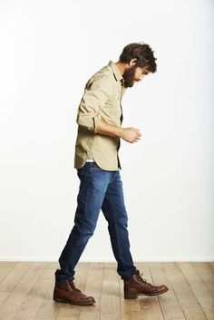 Men's Tan Long Sleeve Shirt, Blue Jeans, Dark Brown Leather Casual Boots