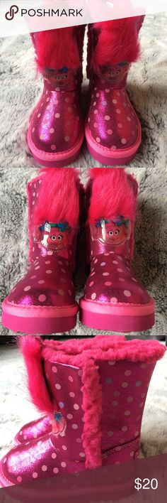 New Trolls boots New Trolls Poppy boots. Sparkly pink with polka dots and fleece lined. No box. Dreamworks Trolls Shoes Boots