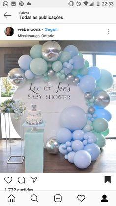 Cute Baby Shower Ideas, Boy Baby Shower Themes, Baby Shower Balloons, Baby Boy Shower, Birthday Balloon Decorations, Birthday Balloons, Baby Shower Decorations, Deco Ballon, Balloon Arrangements