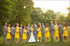 best bridal party ever!!!! yellow and gray wedding