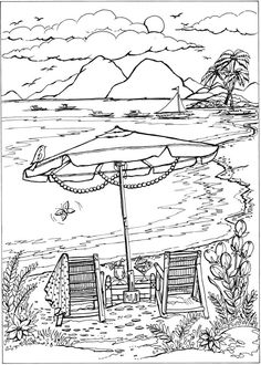 Adult Coloring Page From Creative Haven Summer Scenes Book Dover Publications