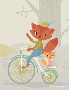 Animal Bike Ride Papa and Baby Fox Children's Nursery Art Gliclee Print.  via Etsy.