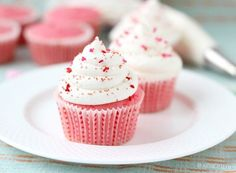 Soft, tender buttermilk cake is topped with tangy cream cheese frosting, creating delicious pink velvet cupcakes, perfect for your Valentine. Recipe's here!