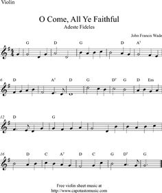 sheet music violin | Free Christmas violin sheet music, O Come, All Ye Faithful