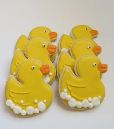 "Rubber ducky decorated cookie favors1 dozen by SayitwithHeart, $42.00- Add ""Channing in blue writing"""