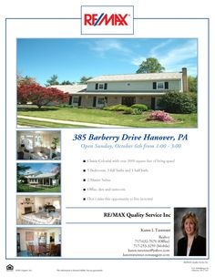 385 Barberry Drive in Hanover, PA.  Open Sunday, October 6th from 1:00 - 3:00.