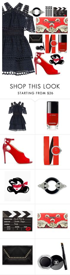 """""""Summer date"""" by sunnydays4everkh ❤ liked on Polyvore featuring self-portrait, Chanel, Jimmy Choo, Christian Dior, Deer Arrow, Kenneth Jay Lane, Charlotte Olympia, Valentino and Rebecca Minkoff"""